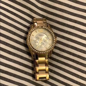 Fossil gold watch